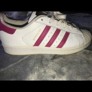 Pink/white adidas superstars